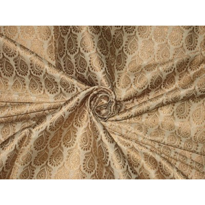 Silk Brocade fabric Gold metallic amp Creamy Ivory color
