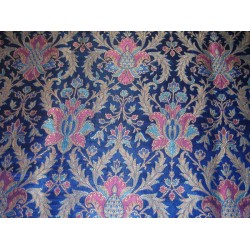 Heavy Silk Brocade Fabric deep royal blue~awesome