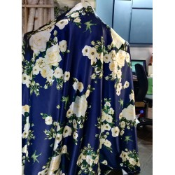 """Polyester SATIN luxurious printed FABRIC NAVY floral 58"""" by the yard"""