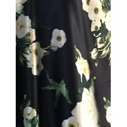"""Polyester SATIN luxurious printed FABRIC BLACK  floral 58"""" by the yard"""