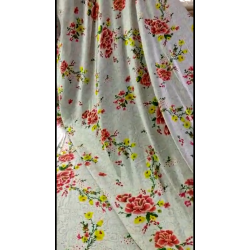 """Polyester SATIN luxurious printed FABRIC ivory floral 58"""" by the yard"""