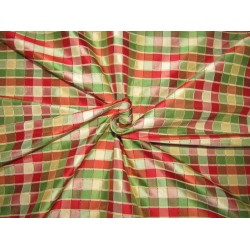 """100% PURE SILK DUPIONI  FABRIC multi color PLAIDS shades of red green and gold 54""""  DUPC121"""