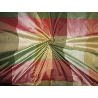 """100% PURE SILK DUPIONI  FABRIC multi color PLAIDS shades of red green and gold 54""""  DUPC120[1]"""