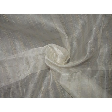 """silk organza fabric metallic  gold and silver plaids fabric 44"""" by the yard"""
