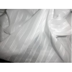 """white cotton voile 58"""" wide / jacquard stripes sold by the yard"""