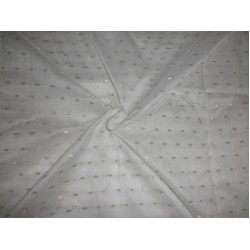 """white """" noil"""" fabric with small gold motifs"""