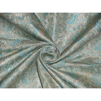 Silk Brocade fabric Light Gold amp Aqua Blue color