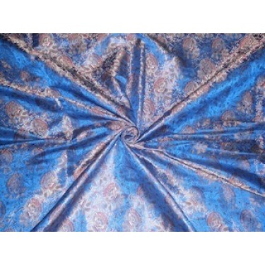 Silk Brocade fabric Light Gold,Red & Royal Blue color