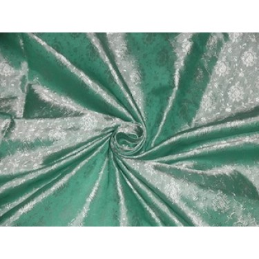 Brocade jacquard  fabric Pastel Green & Light Silvery Ivory color BRO203[6]