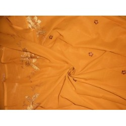 """Mango Orangeish Yellow voile fabric with embroidery 58"""""""