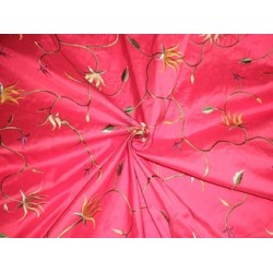 Pure SILK DUPIONI Fabric Floral Embroidery DUPE9[2]