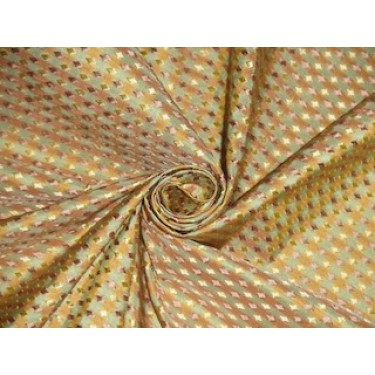 """SILK TAFFETA FABRIC Pastel Green,Gold & Salmon color plaids with jacquard taf cj3-54"""" wide sold by the yard"""