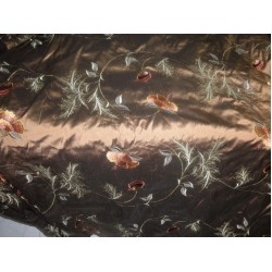 Pure SILK DUPIONI Fabric Floral Embroidery copper brown by the yard