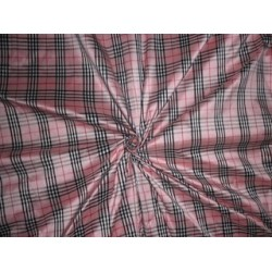 SILK DUPIONI FABRIC PLAIDS Pink,Ivory,Black & Red color DUPC43 by the yard
