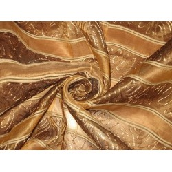 """Brown SILK ORGANZA FABRIC 44"""" with embroidery"""