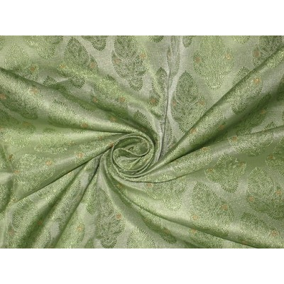 SILK BROCADE FABRIC Pastel Green amp Metallic Gold colour 44