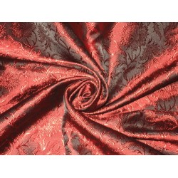 Silk Brocade fabric Wine Red & Black Colour
