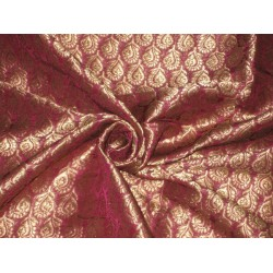 "Pure SILK BROCADE FABRIC Purple & Gold 44"" Gorgeous"