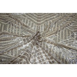 LIGHT GOLD Lycra  Net Fabric with   gold  color SEQUENCE  58'' Wide FF19[3]