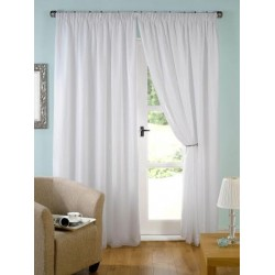 """Voile sheer pencil pleated curtains white ivory color 52"""" wide and 84"""" long"""
