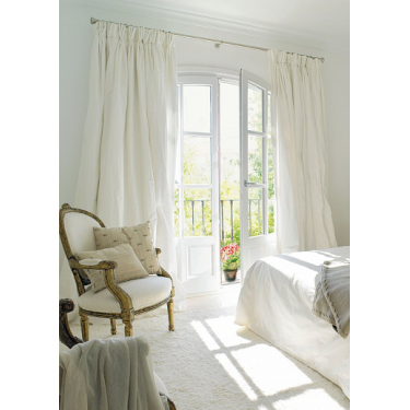 """French pleated curtain 100% silk dupion white ivory lined 50"""" wide and 84"""" Long"""