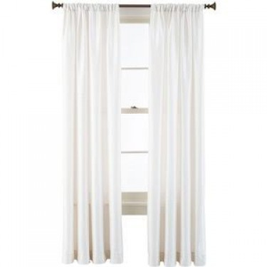 """100% SILK TAFFETA 3"""" ROD TOP CURTAIN WHITE IVORY 51"""" WIDE AND 90"""" LONG"""