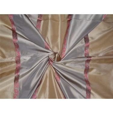 "Silk taffeta floral dobby fabric-dusty green,gold x satin stripe 54"" wide sold by the yard"