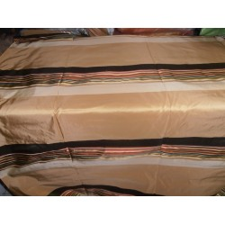 "100% Pure Silk Taffeta Fabric beige/gold with multi color stripes  54"" wide sold by the yard"