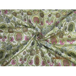 Heavy Silk Brocade Fabric ivory green navy blue x metallic gold 36'' Bro571[1]