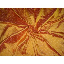 "100% pure silk dupioni ikat fabric in golden mango 44"" inches by the yard"