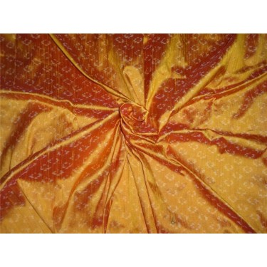 """100% pure silk dupioni ikat fabric in golden mango 44"""" inches by the yard"""