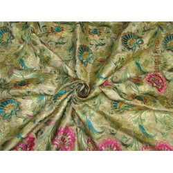 """Silk Brocade fabric gold color with embroidery 44"""" BRO574[1]"""