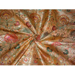 Heavy BROCADE FABRIC orange,hot pink & Metallic GOLD COLOR BRO560[3]