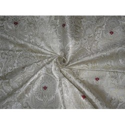 Heavy BROCADE FABRIC IVORY,RED X GOLD COLOR BRO560[1]