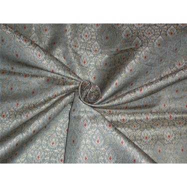 """HEAVY SILK BROCADE CLOUDY BLUE ,RED WITH METALLIC GOLD COLOR 44""""BRO560[4]"""