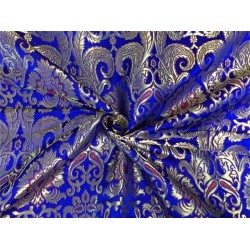 Heavy Silk Brocade Fabric royal blue red x metallic gold color Bro565[4]
