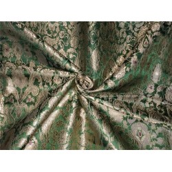 Heavy Silk Brocade Fabric green x metallic gold color Bro566[3]