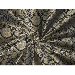 Heavy Silk Brocade Fabric black x metallic gold color Bro564[2]