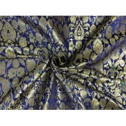 Heavy Silk Brocade Fabric neavy blue x metallic gold color Bro566[2]