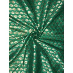 "Brocade fabric Green & Metallic Gold Color 44"" BRO567[2]"