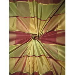 PURE SILK TAFFETA FABRIC with satin stripes shades of greens browns and  MULTI COLORS PLAIDS TAFCS6[1]