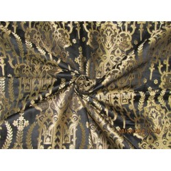 Heavy Silk Brocade Fabric Black x metallic gold 36' Bro570[1]