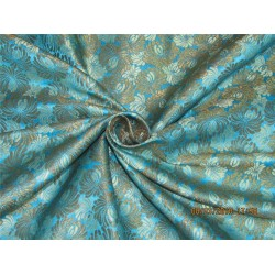 Heavy Silk Brocade Fabric turquoise blue x metallic gold 36'' Bro571[4]