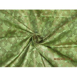 Heavy Silk Brocade Fabric olive green x metallic gold 36'' Bro571[3]