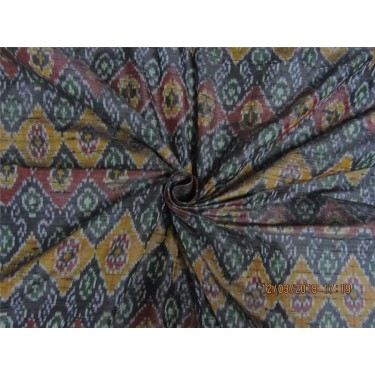 100% pure silk dupioni ikat fabric black maroon x green color 44'' inches by the yard