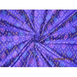 100% pure silk dupioni ikat fabric yellow royal blue x purple color 44'' inches by the yard