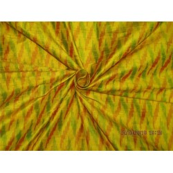 100% pure silk dupioni ikat fabric yellow x multi color 44''