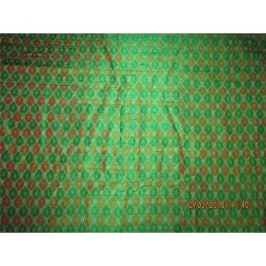 100% pure silk dupioni ikat fabric green x maroon color 44'' inches by the yard