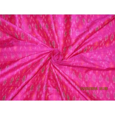 100% pure silk dupioni ikat fabric pink color 44'' inches by the yard