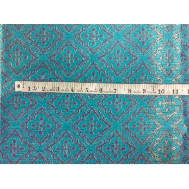 Reversible Brocade turquoise blue X metallic gold color 56'' BRO562[3] sold by the yard